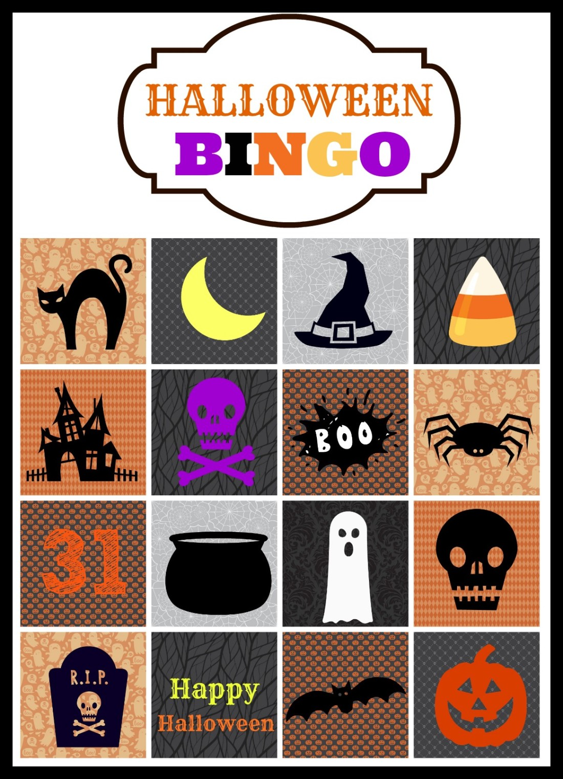 Halloween Bingo Cards - A Cup Full of Sass