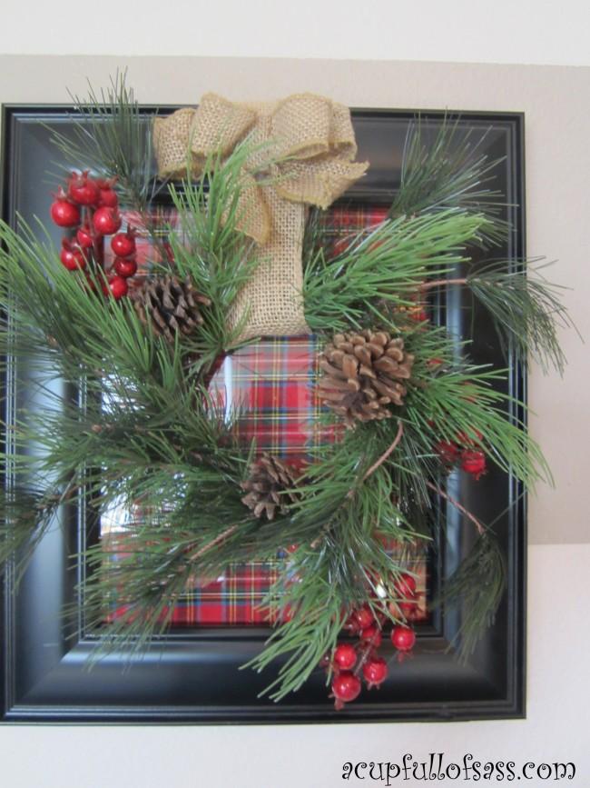 DIY Christmas Frame Wreath - A Cup Full of Sass