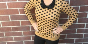 camel polka dot sweater outfit