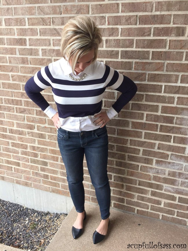 Collar sweater shirt with skinny jeans outfit