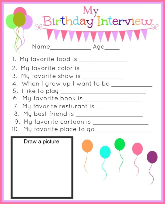 Birthday Interview Printables Capturing Joy With Kristen