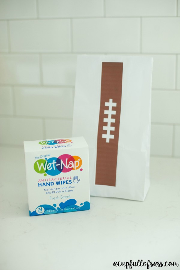 Football treat bags with Wet-Nap
