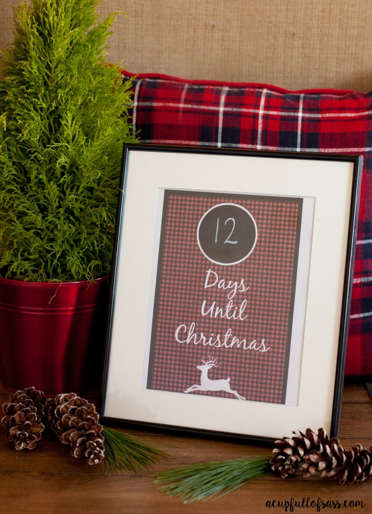 Plaid Printable Days until Christmas