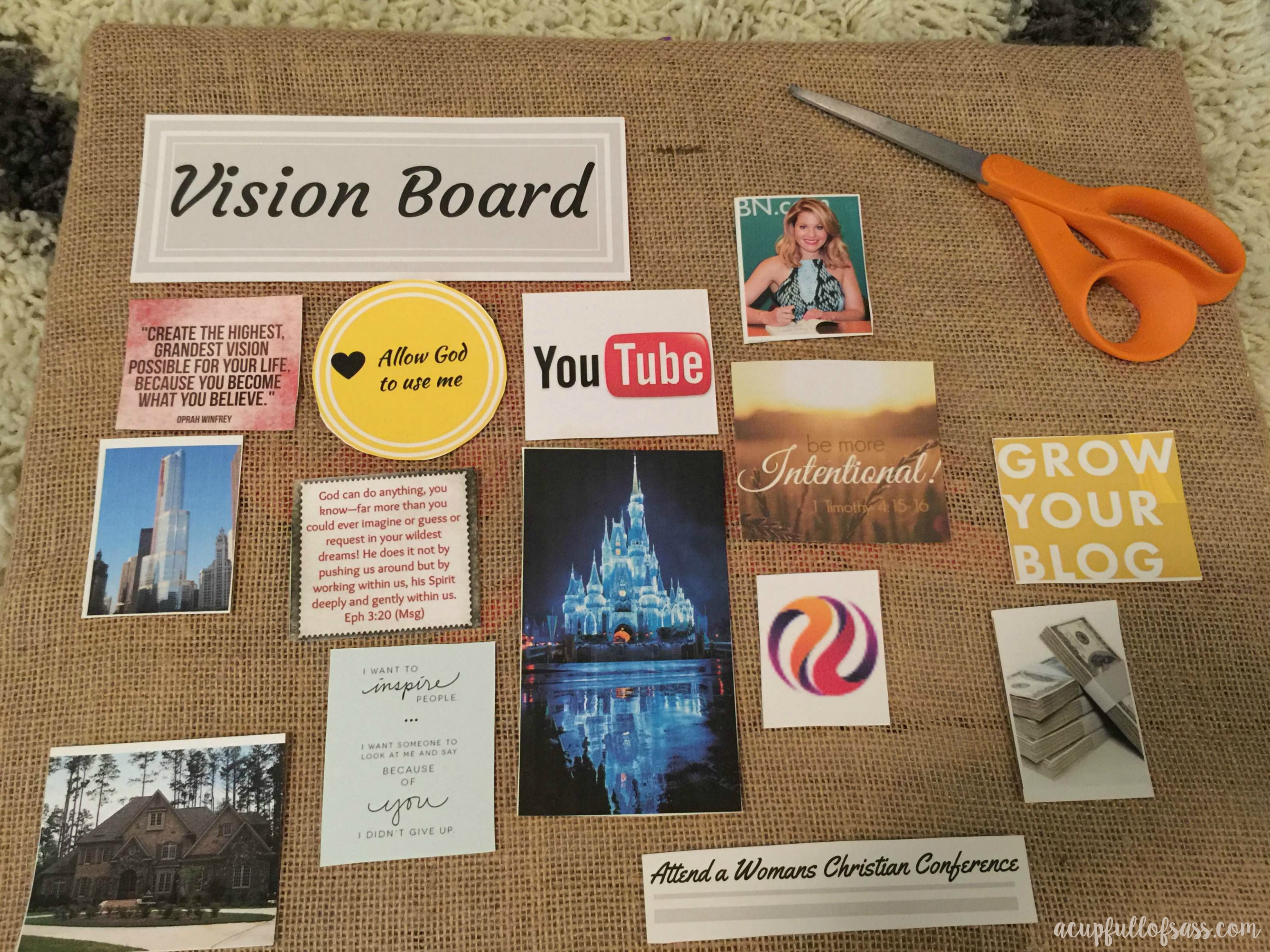 How to create a vision board a cup full of sass for Home design vision board