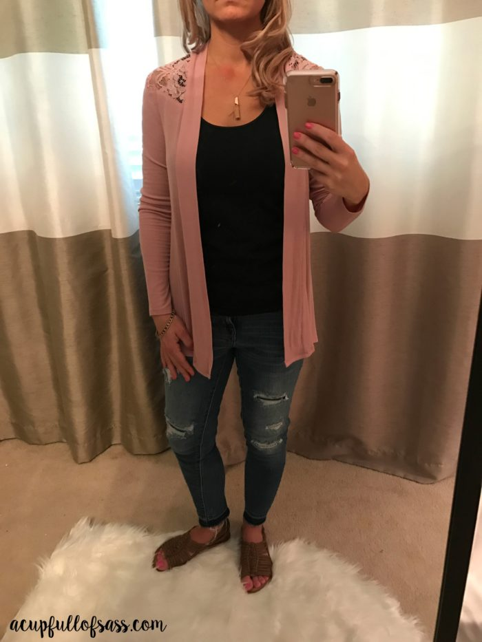 STITCH FIX 41HAWTHORN PINER LACE DETAIL KNIT CARDIGAN - A CUP FULL OF SASS