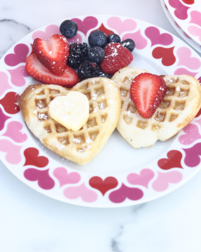 Heart Shaped Waffles for Valentine's Day