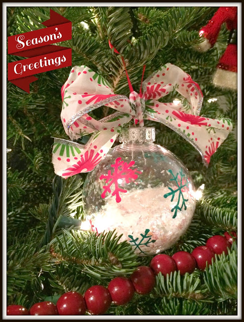 red ornament seasons greeting