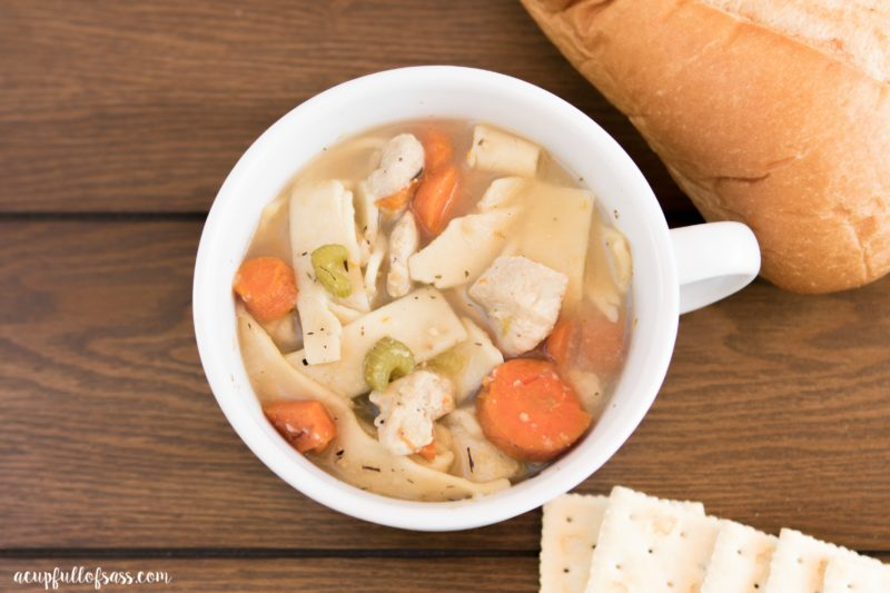 Homemade Chicken Noodle Soup in pressure cooker (insta pot) in only 7 minutes. This soup is perfect when you want a home cooked meal, don't have much time.
