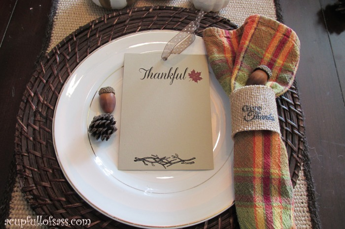 place setting thankful H
