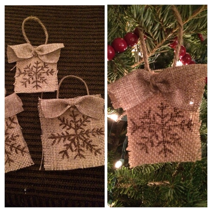 burlap ornament side by side