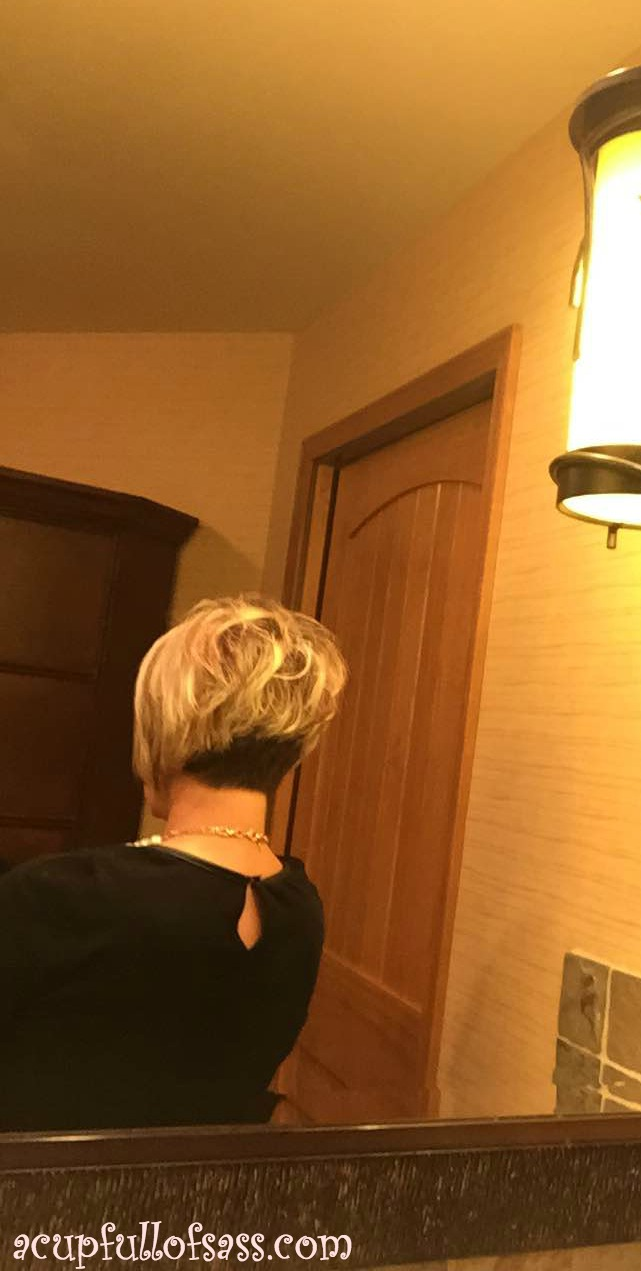 Stacked short hairstyle.