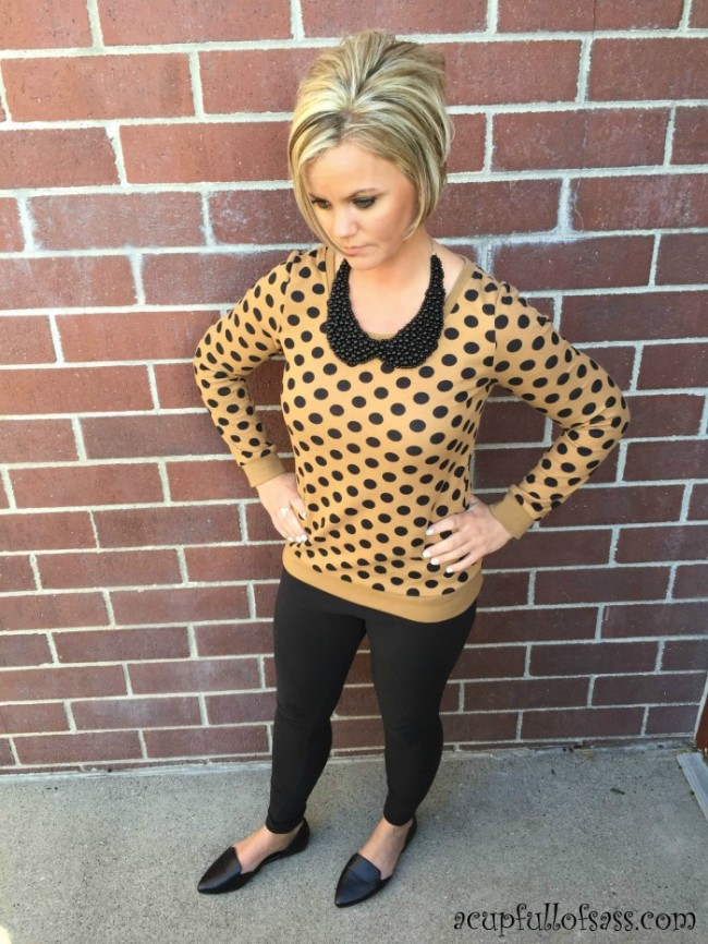 Polka Dot Caramel Sweater Outfit