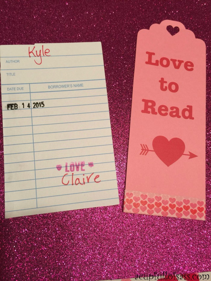 library valentine cards bookmark