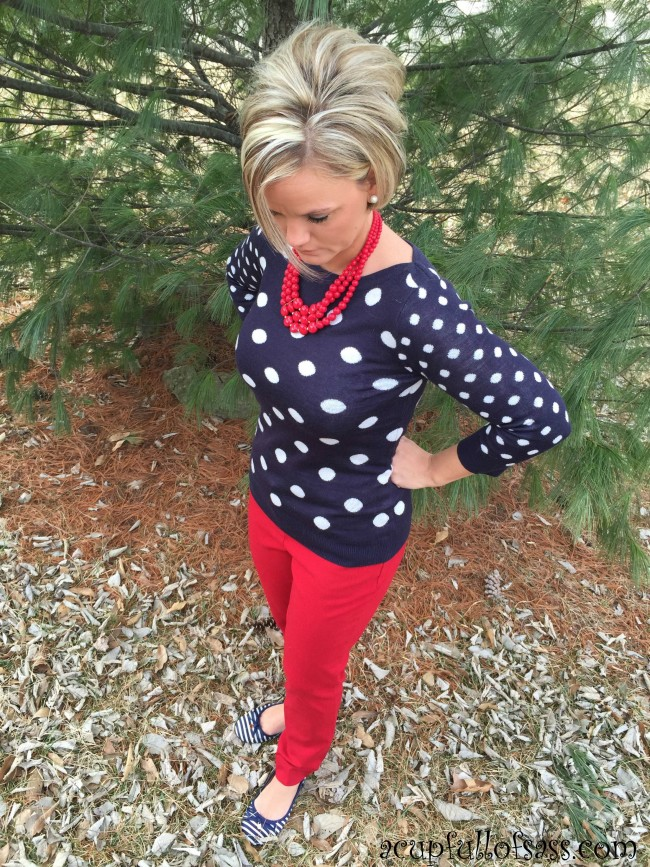 Navy Polka Dot sweater with red jeans outfit.