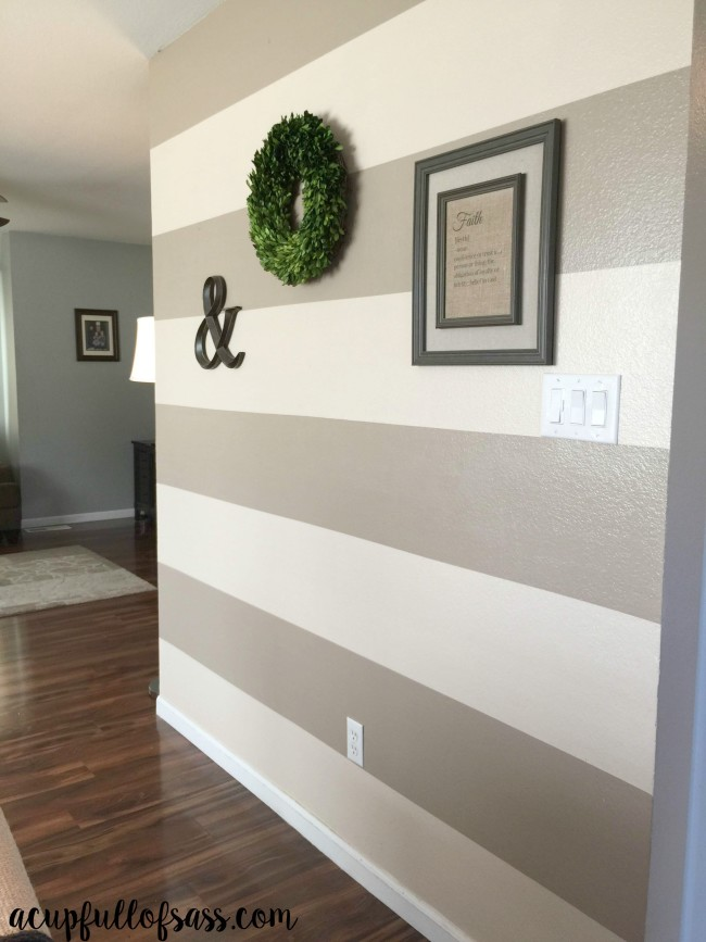 DIY: How to Paint Wall Stripes. How to Paint Wall Stripes DIY. Transform the entire room by adding wall stripes. I went with the colors Dessert Fortress and Lyndhurst Timber.