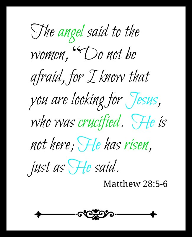 Matthew 28 Easter Printable