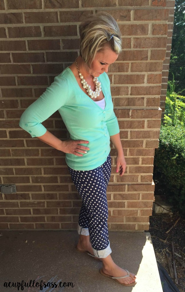 polka dot pants outfit