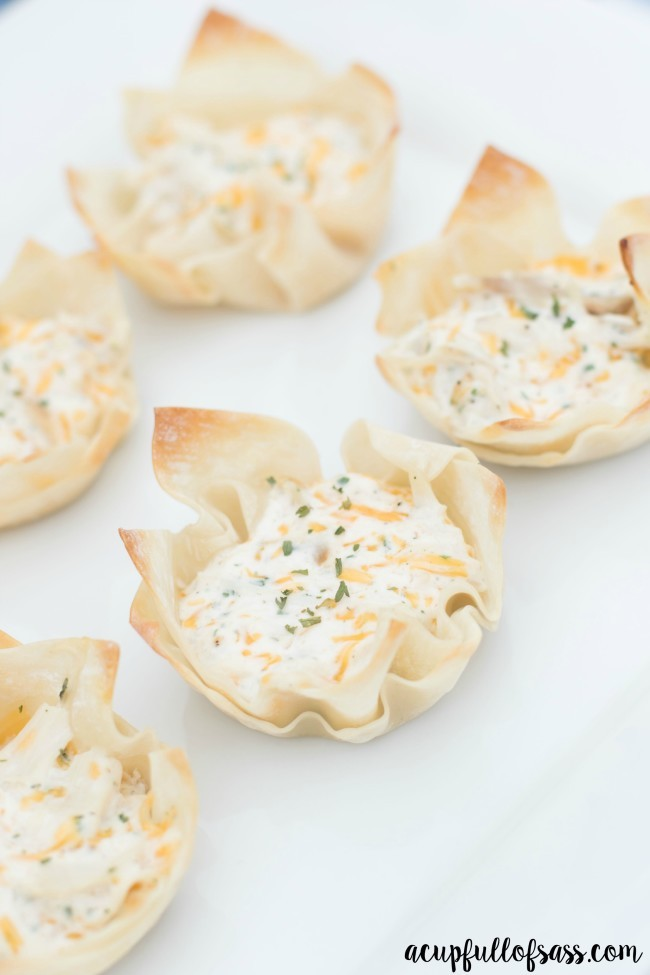 Chicken Ranch Wonton Cups. Perfect appetizer for your next party.
