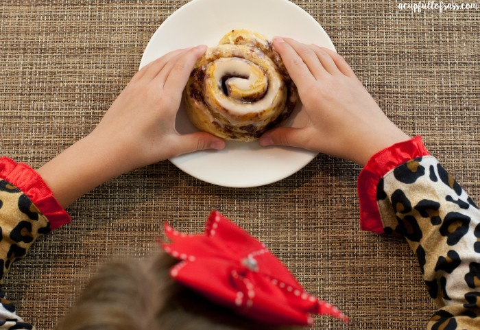 cinnamon roll above