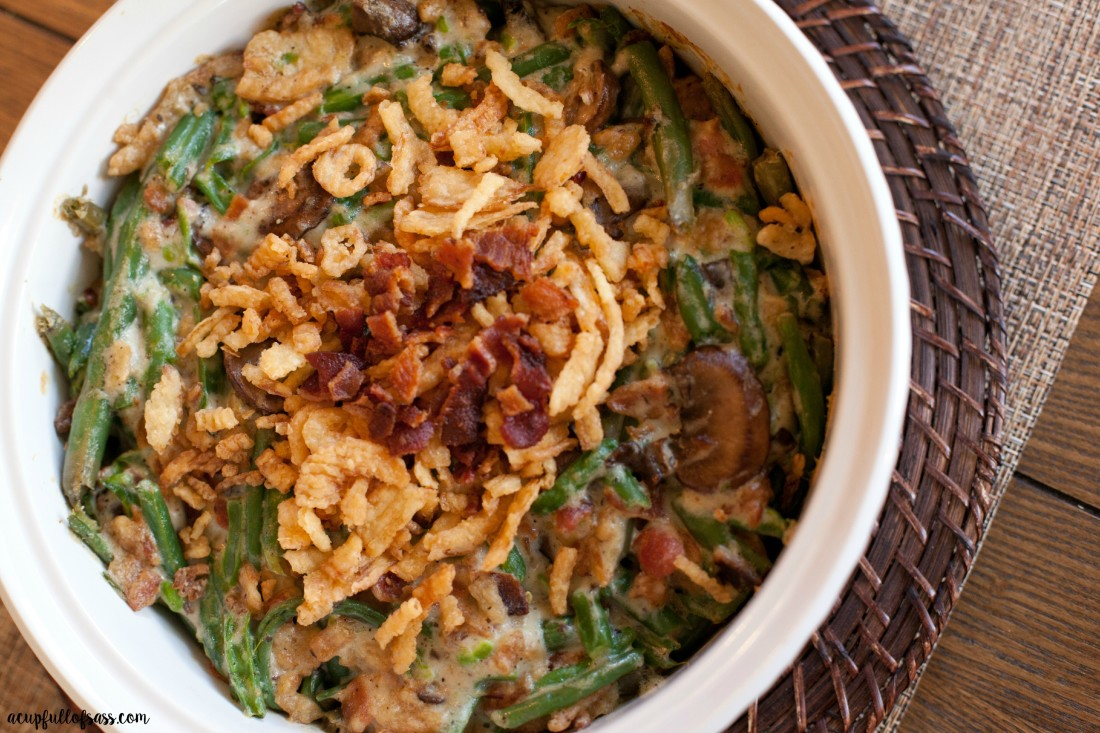 Bacon Green Bean Casserole for the holidays. #greenbean #greenbeancasserole #sidedish #bacon #homemade #casseole #bacongreenbeancasserole
