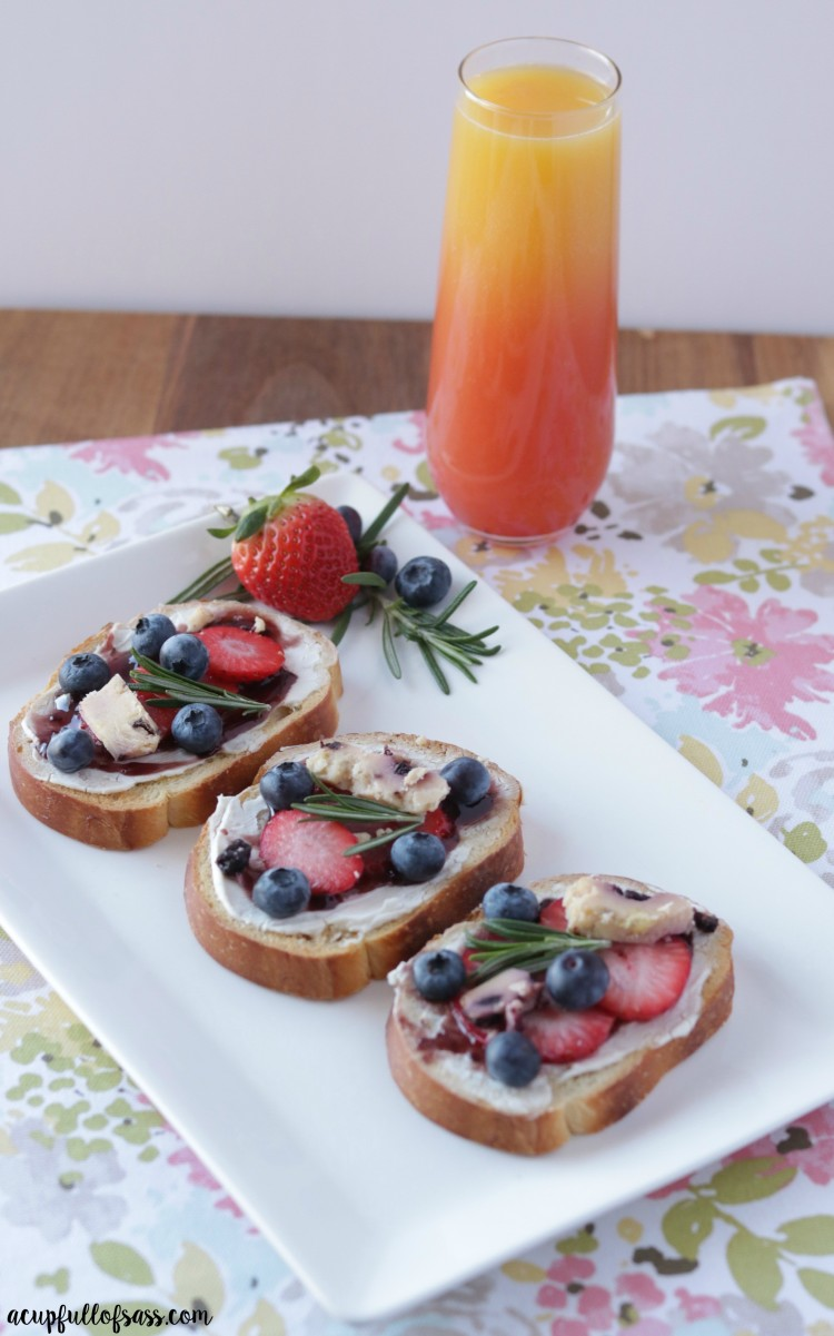berry bruschetta with a mimosa