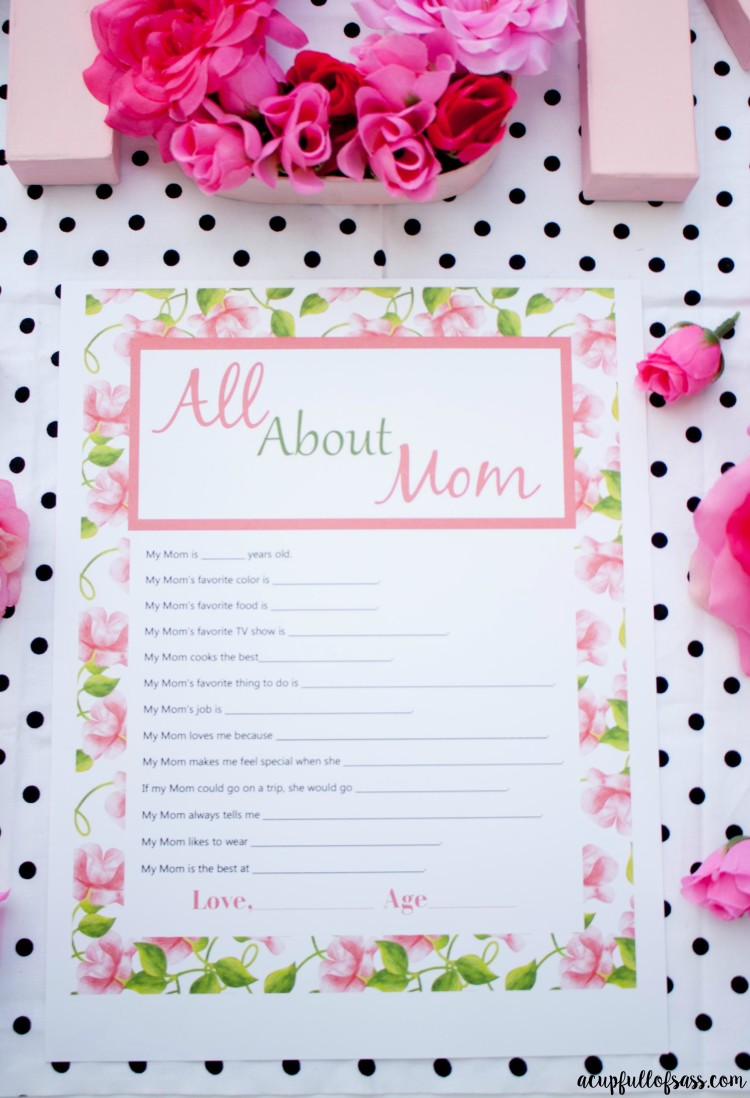 photo regarding Mother's Day Questionnaire Printable identified as Moms Working day Questionnaire Printable - A Cup Entire of S