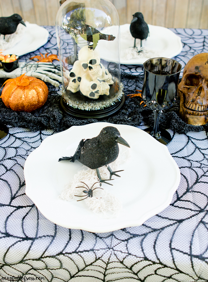 Halloween Tablescape with Black Crow
