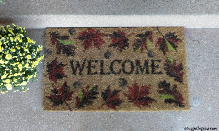 Easy Fall Porch Decor Ideas. Fall Doormat.- A Cup Full of Sass