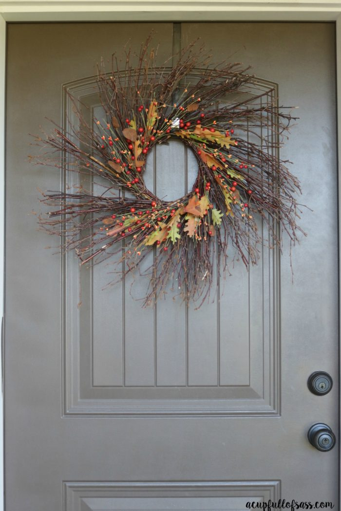 Easy Fall Porch Decor Ideas. Fall Wreath. - A Cup Full of Sass