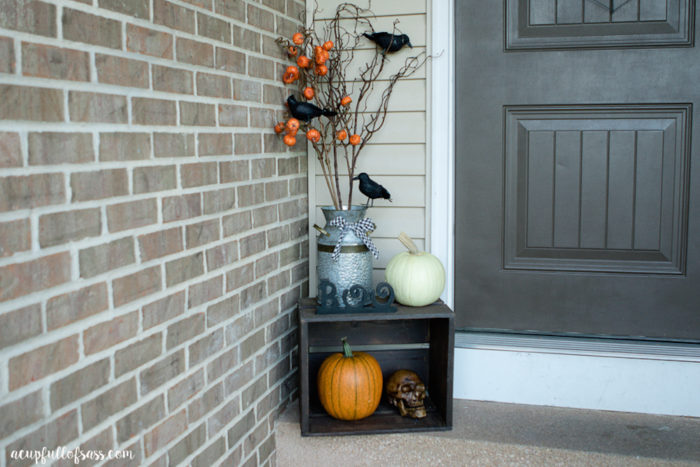 Halloween Porch Ideas. I used black crows, skulls, and white pumpkins.