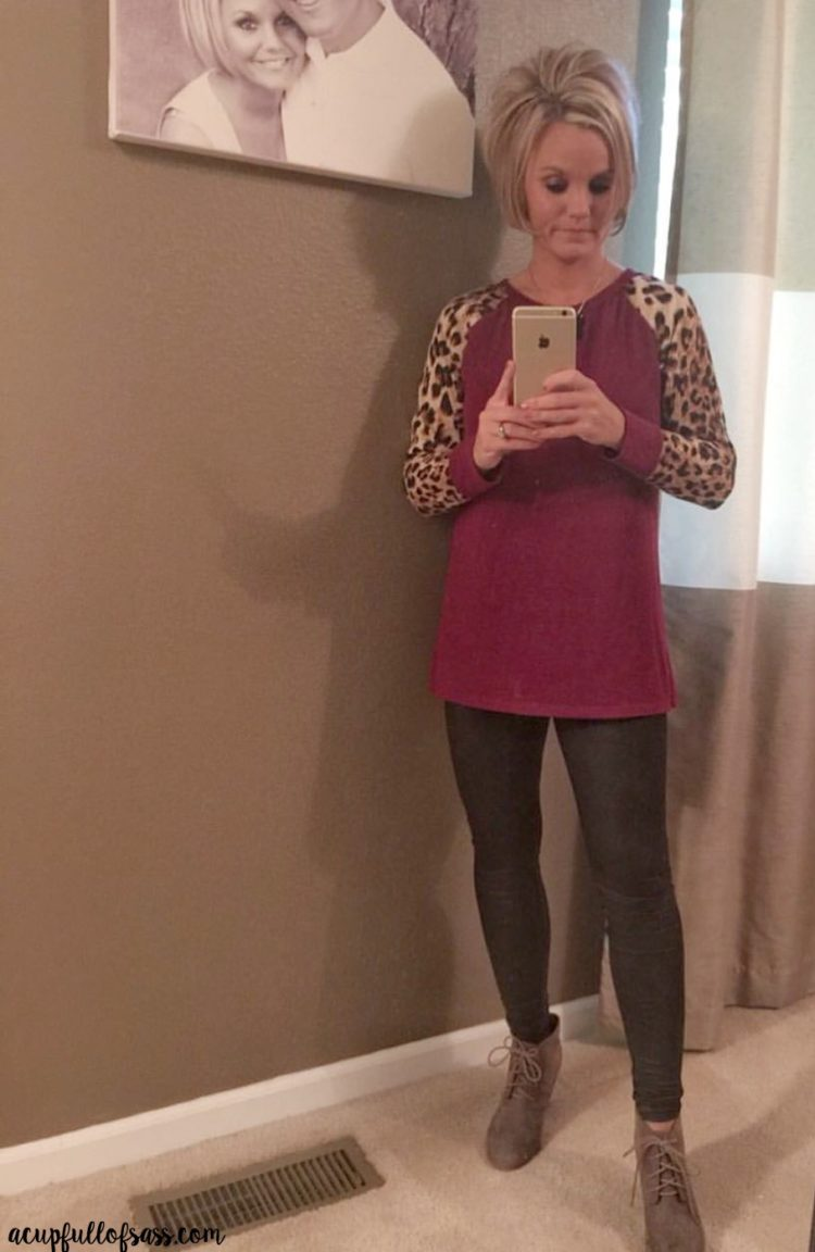 Leopard Print Shirt with Faux Leather Pants