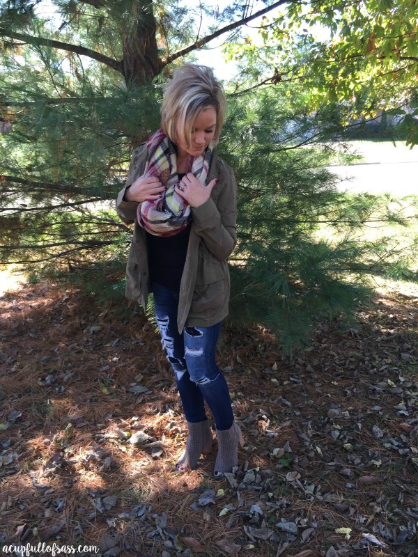 Fall Outfit Ideas. Military Jacket with Blanket Scarf.