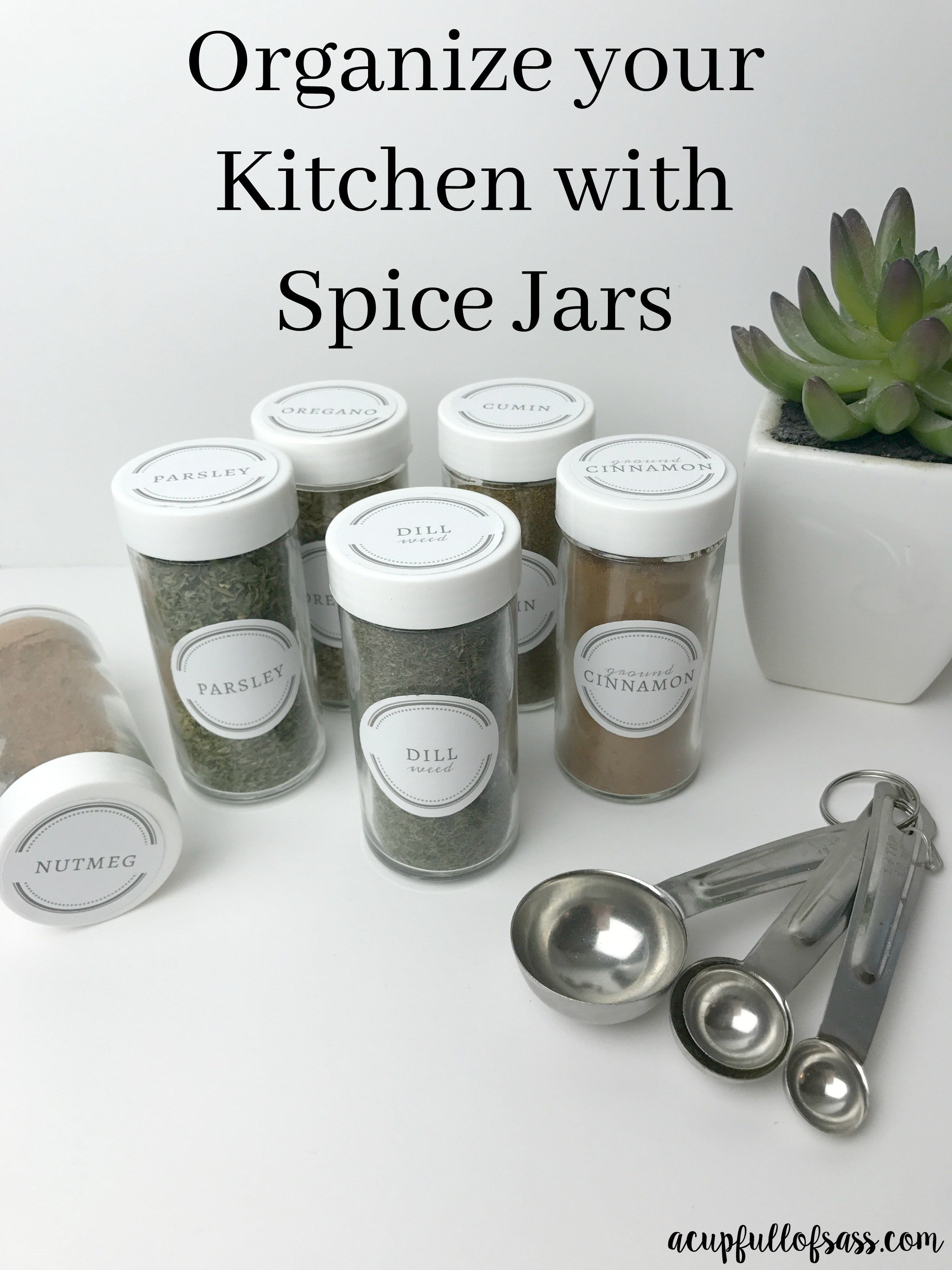 Kitchen Organization using Spice Jars