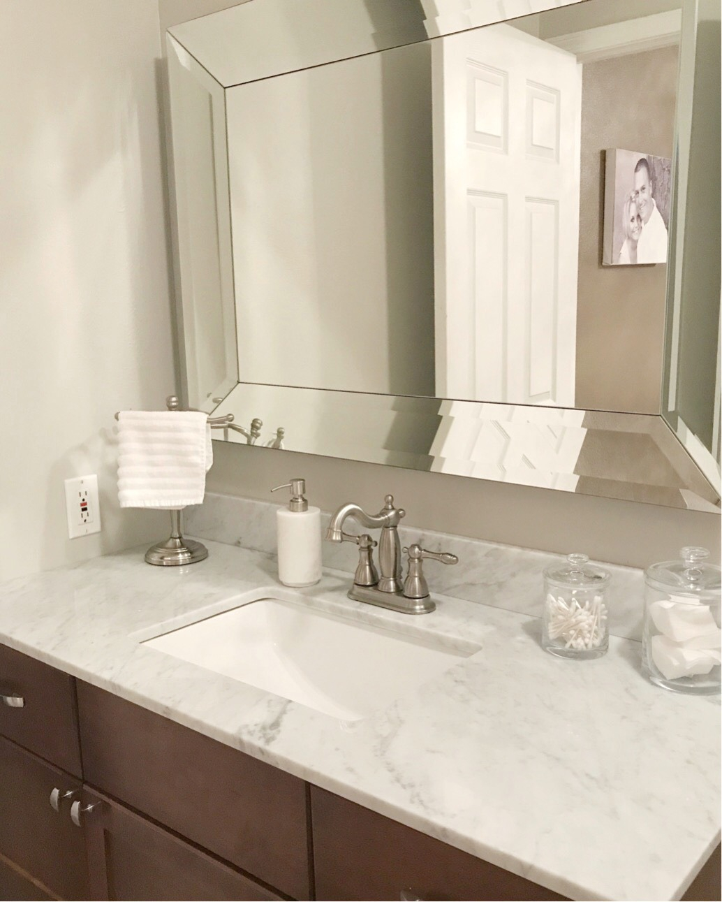 Small Master Bath ideas - Sherwin Williams Repose Gray. Create a spa like feeling in your own bathroom. A Cup Full of Sass