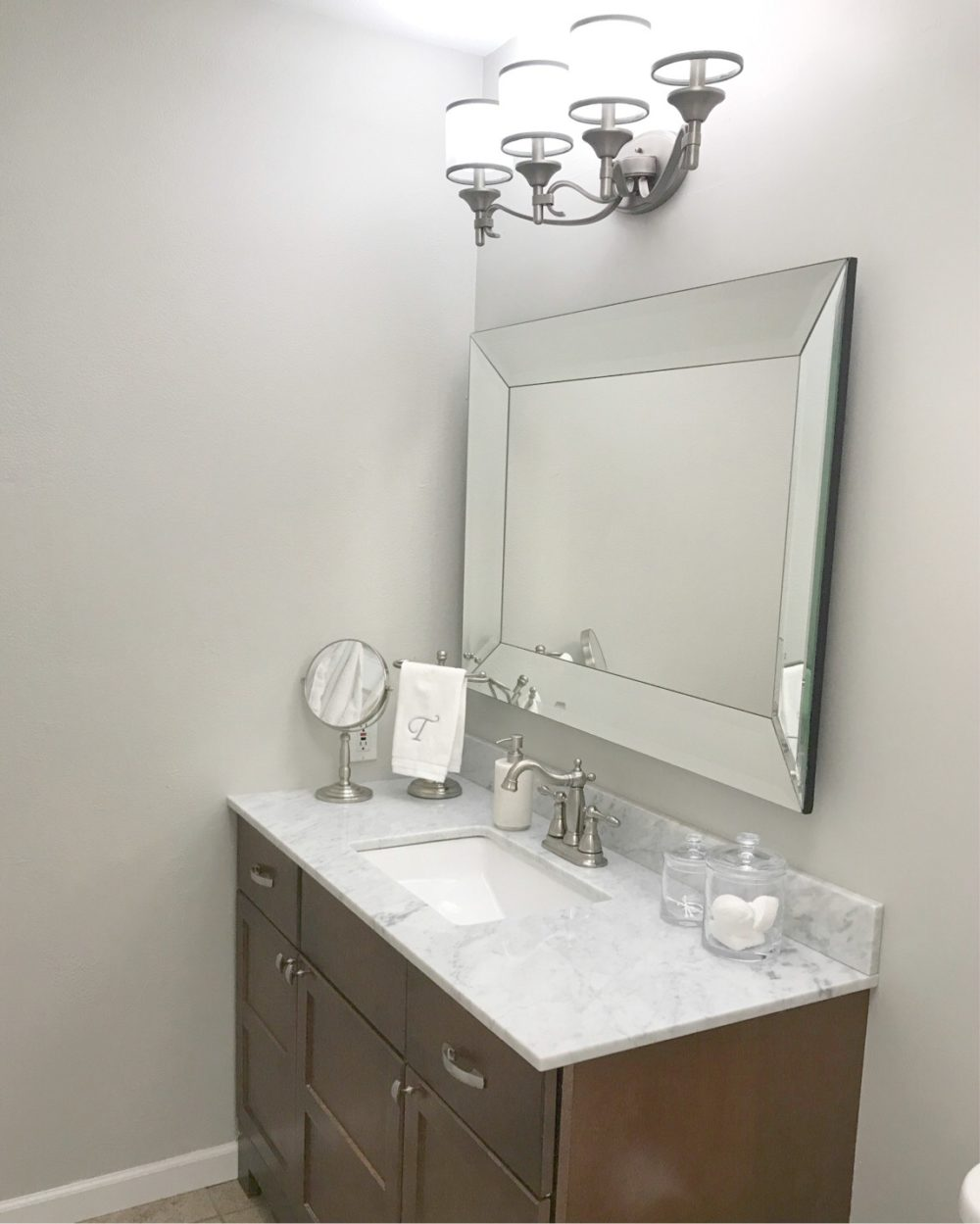 Small Master Bath Ideas. Before and After - Repose Gray by Sherwin Williams - A Cup Gull of Sass