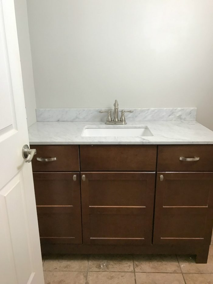 Small Master Bathroom Remodel Ideas. Repose Gray Paint by Sherwin Williams - A Cup Full of Sass