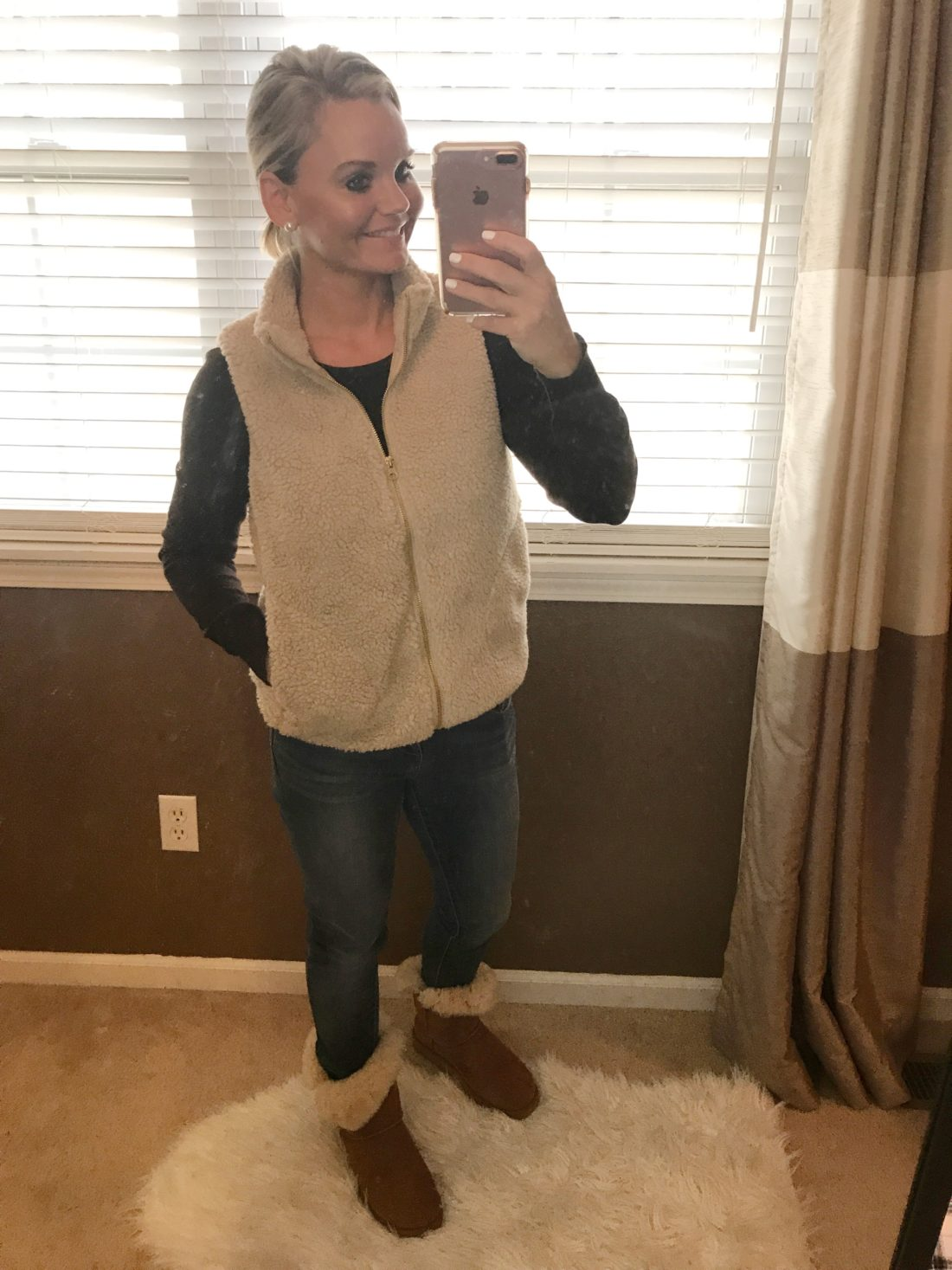 Fall and Winter Outfit Ideas - Sherpa Vest & Ugg Boots - A Cup Full of Sass
