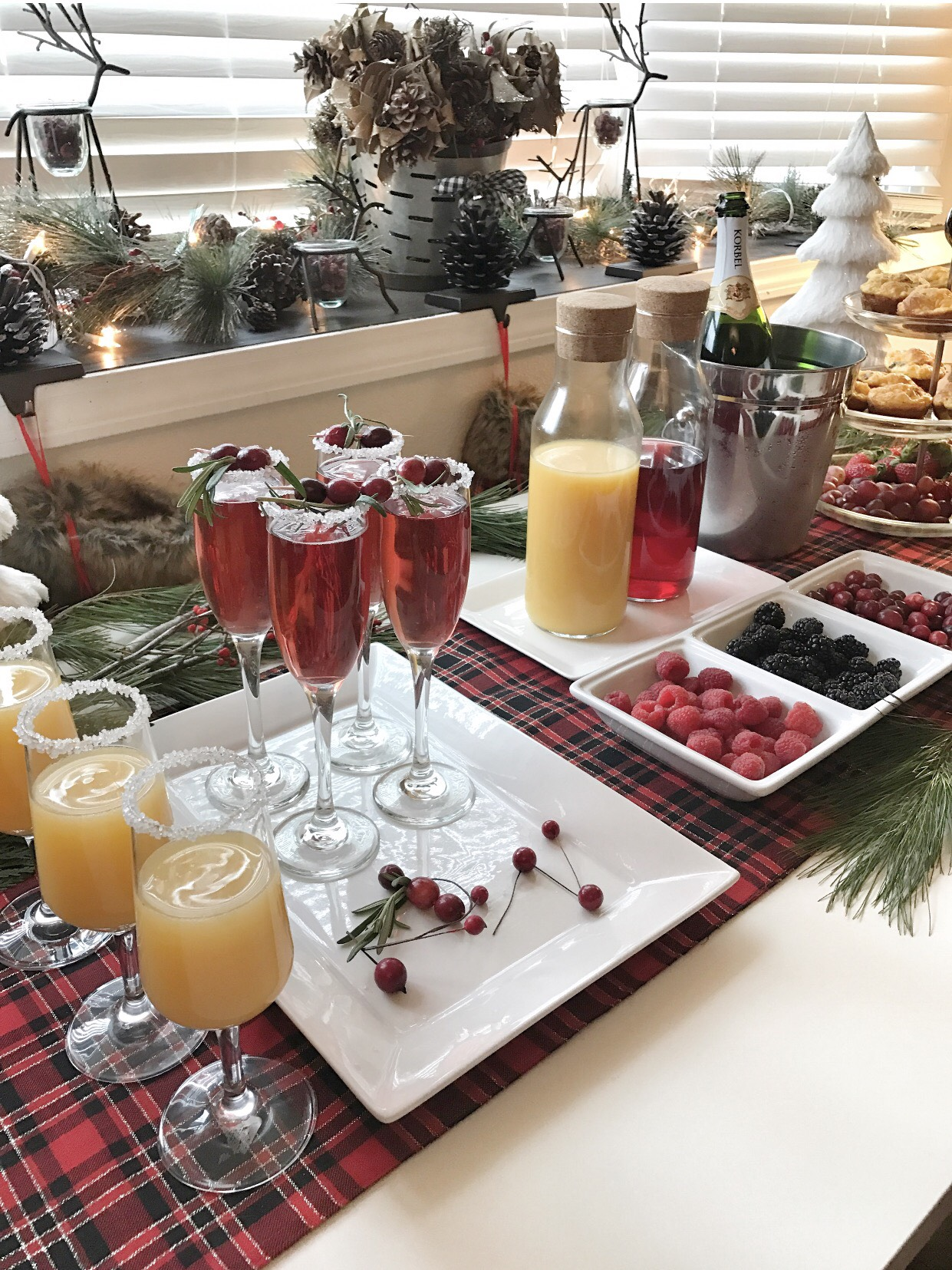 Christmas Mimosas Bar. Cranberry Mimosas make such a festive look for the holidays. See how to Host a Holiday Party