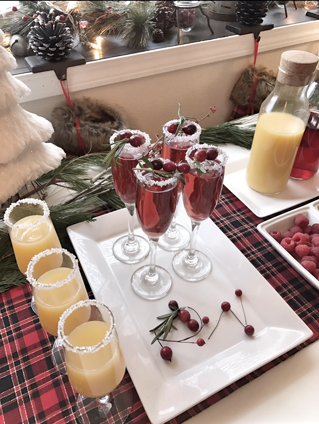 Cranberry Mimosas Christmas brunch.