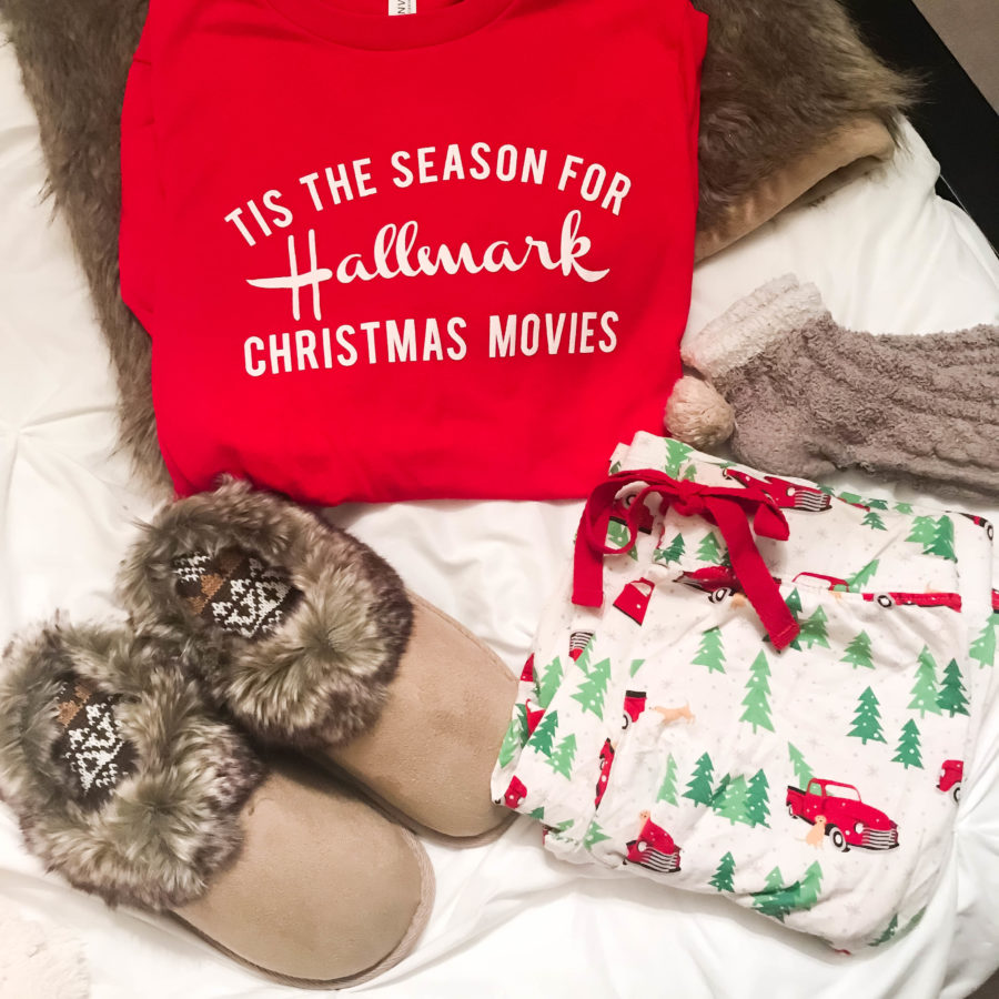 Hallmark Christmas movies Top with comfy pajama ideas.