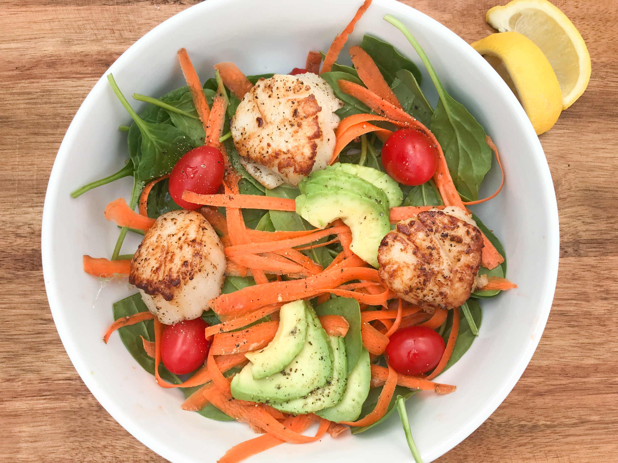 Seared Scallops spinach salad - Low Carb - Paleo- Gluten Free- FWTFL, Keto