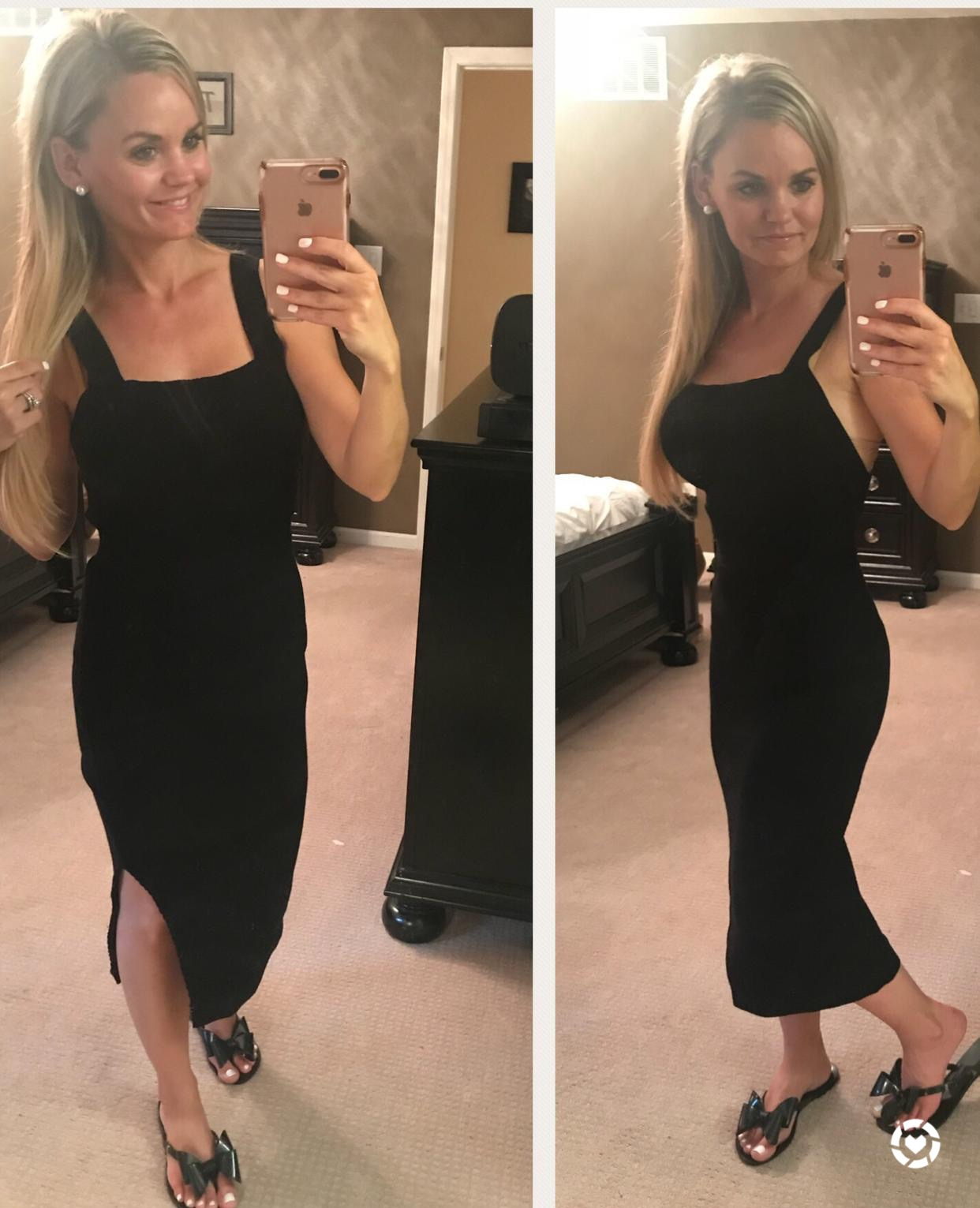 Trunk Club Try On - Midi Body Con Black Dress. A Cup Full of Sass
