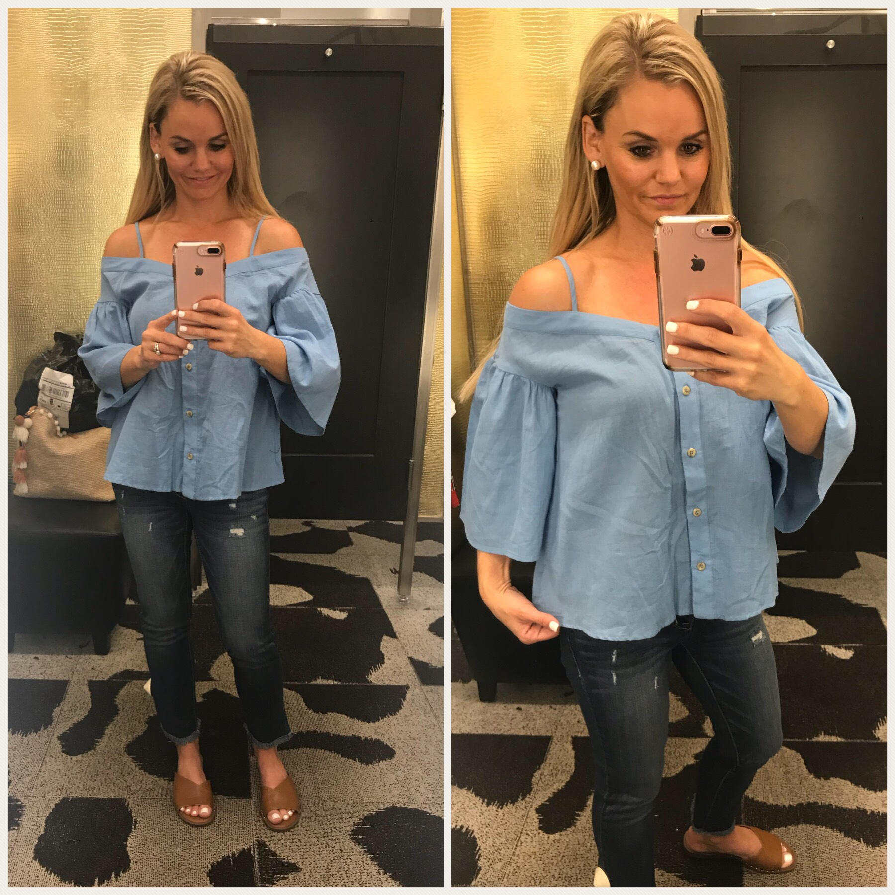Nordstrom Dressing Room Try-On Summer Outfits -Off the shoulder top. A Cup Full of Sass