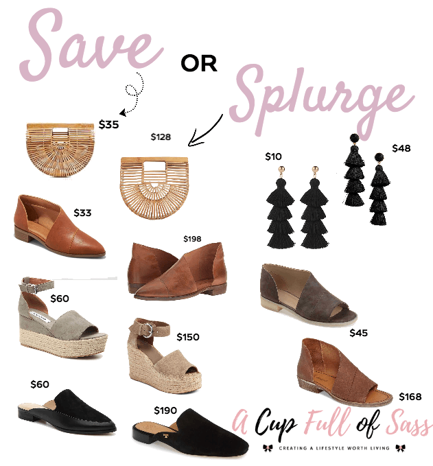 Save vs. Splurge Shoes and Accessories. Outfit Ideas - A Cup Full of Sass.