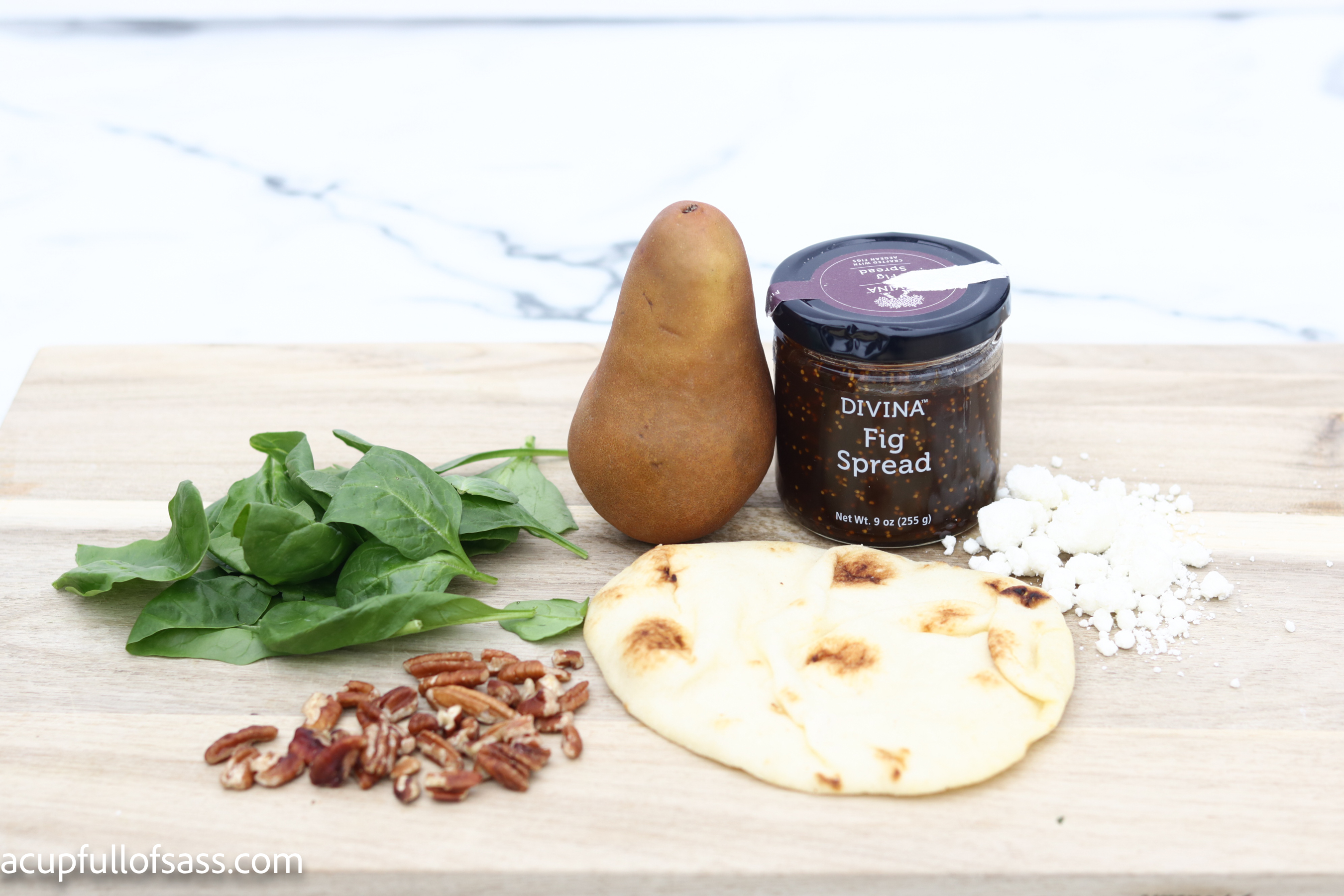Pear Fig Flatbread. Create a stunning dish for your next dinner party.