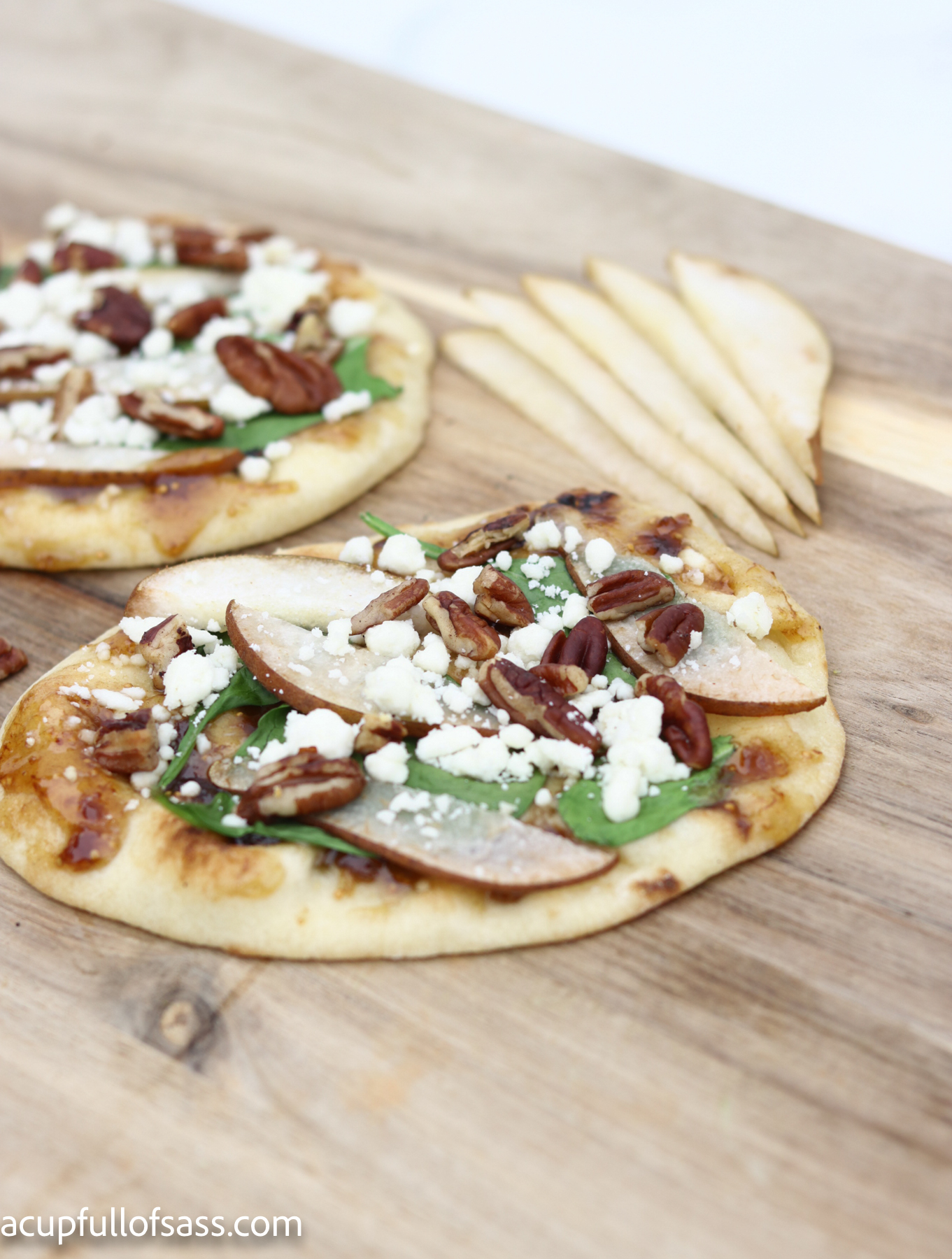 Pear Fig Flatbread. Perfect Fall recipe. Create a stunning dish for your next dinner party.