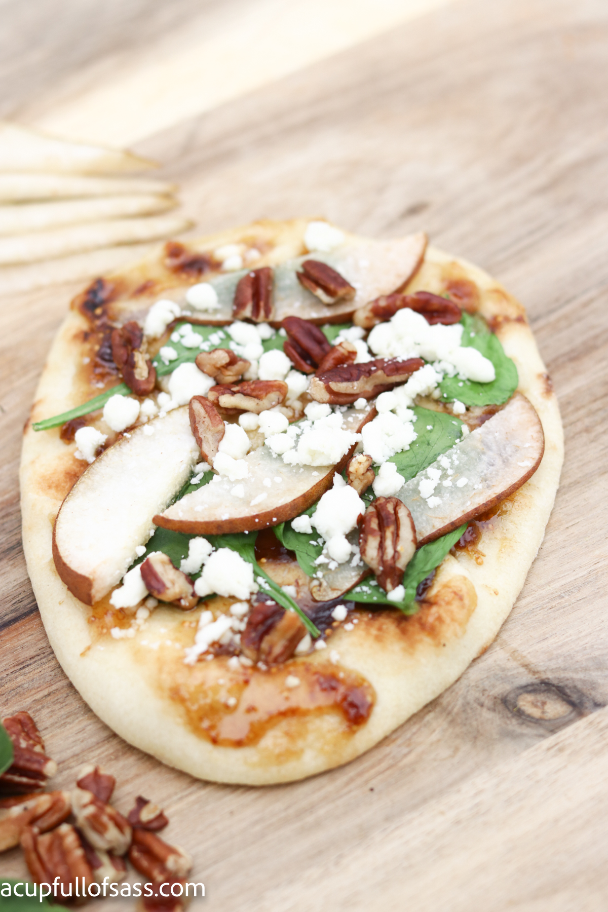 Pear Fig Flatbread. Create a stunning dish for your next dinner party. This is a great Fall recipe.