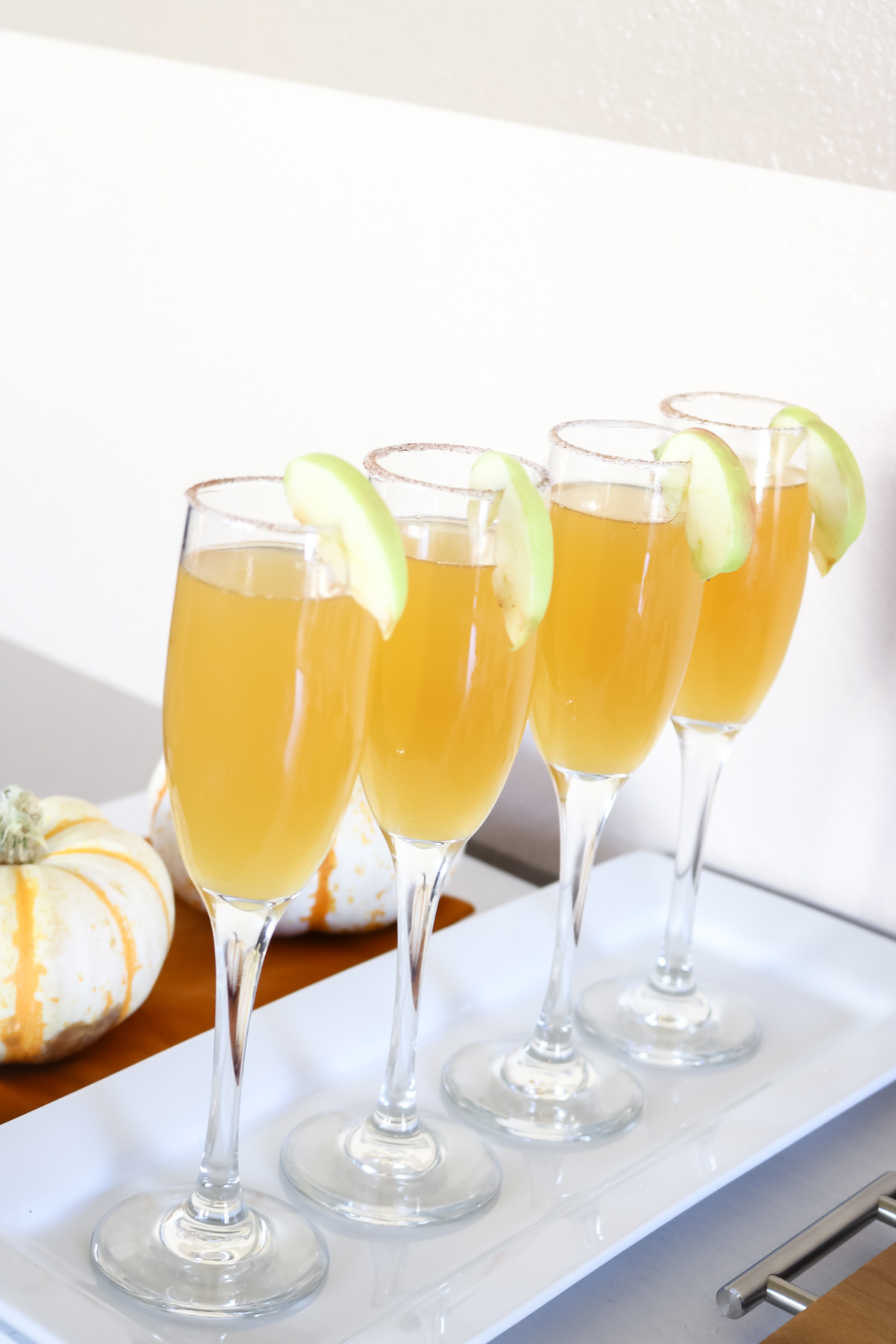Apple Cider Mimosas recipe. Fall drink ideas.