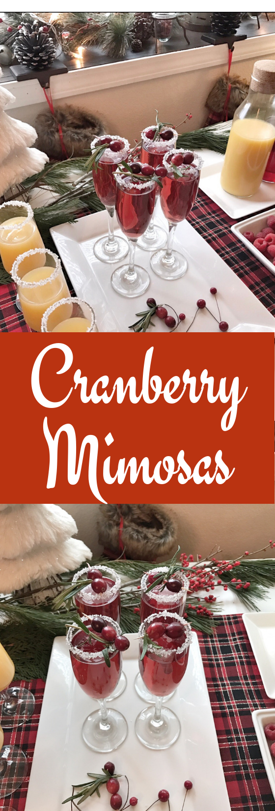 Cranberry Mimosas for Christmas brunch.
