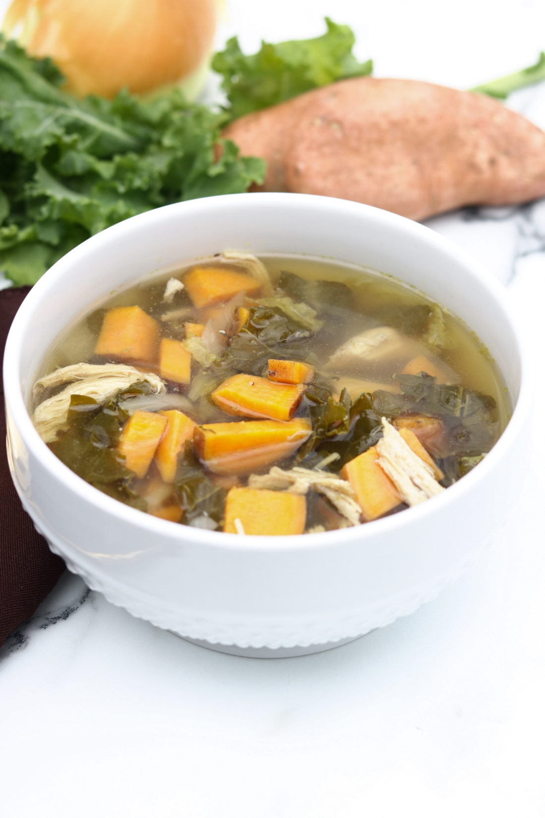 Slow Cooker Chicken Kale Cabbage Sweet Potato Soup